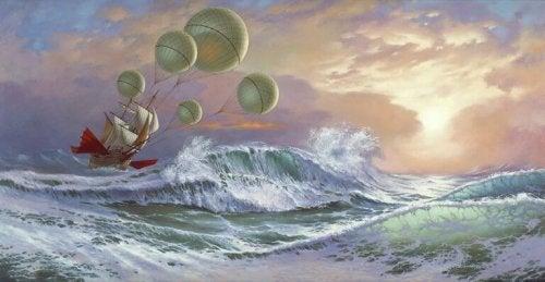 bateau voguant sur une mer agitée