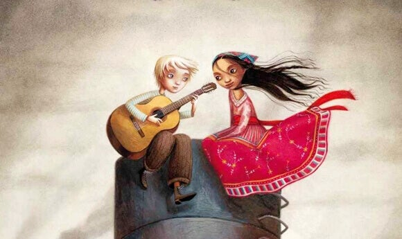 homme jouant de la guitare pour une femme