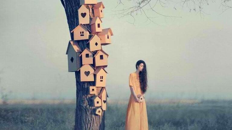 femme à côté d'un arbre auquel sont accrochées de petites boîtes