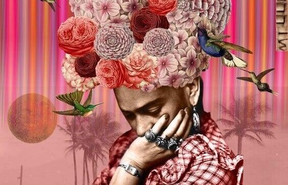 femme avec une coiffe de fleurs