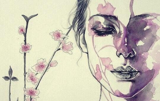 femme aux yeux fermés
