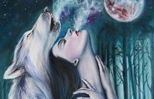 femme avec un loup