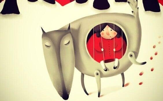enfant enfermé dans le ventre d'un loup