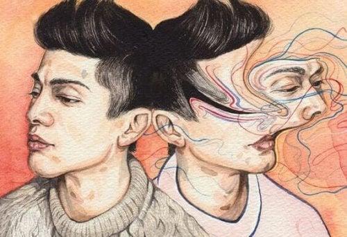 deux visages en symétrie dont un brouillé