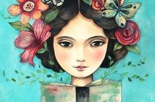 jeune fille avec des fleurs