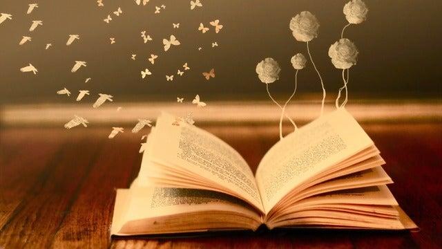 livre duquel sortent fleurs et papillons