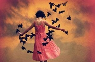 petite fille avec oiseaux