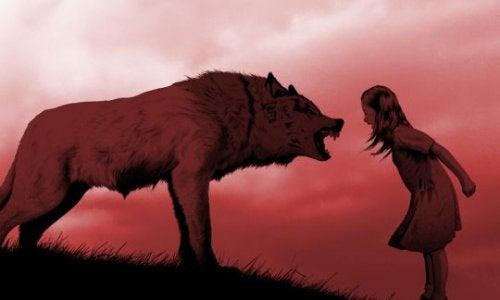 petite fille avec un loup
