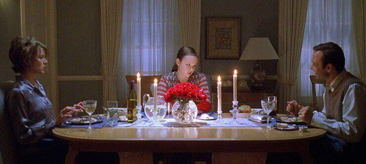 scène du dîner dans le film American Beauty