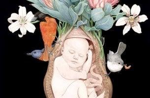 bebe dans l'uterus entoure de fleurs et oiseaux
