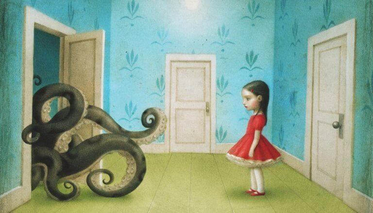 petite fille face aux tentacules d'une pieuvre