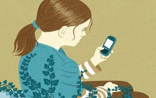 jeune fille qui regarde son portable
