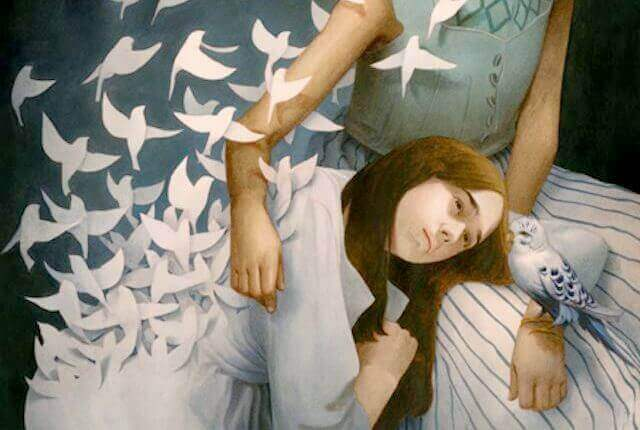 femme et oiseaux