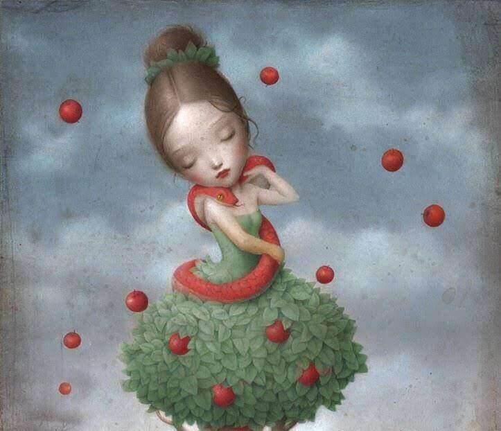petite fille avec une robe de feuilles, un serpent autour du cou et cernée de pommes : le fruit défendu