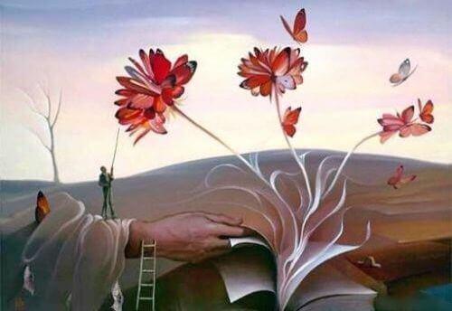 fleurs qui sortent d'un livre