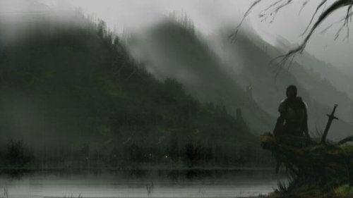 chevalier et lac