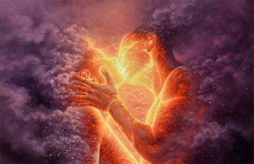 couple dans un feu