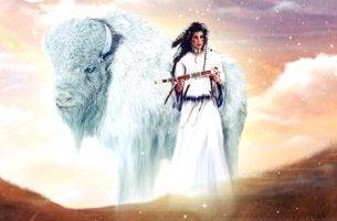 femme et bison blanc