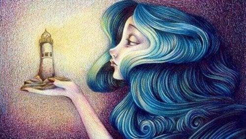 femme qui regarde un phare
