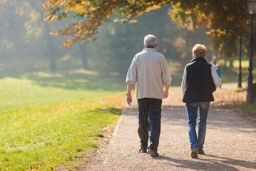 couple de personnes âgées qui pratiquent la marche