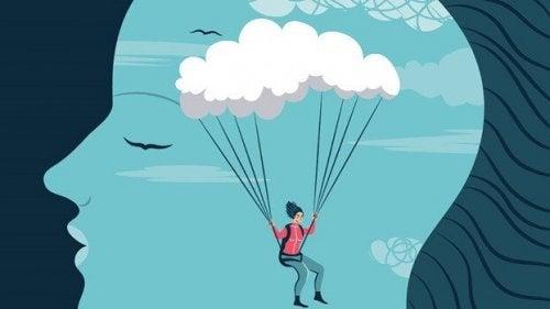 femme en parachute