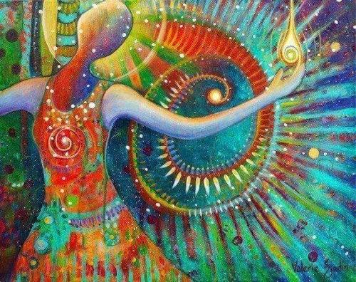 personnage coloré représentant la sagesse toltèque