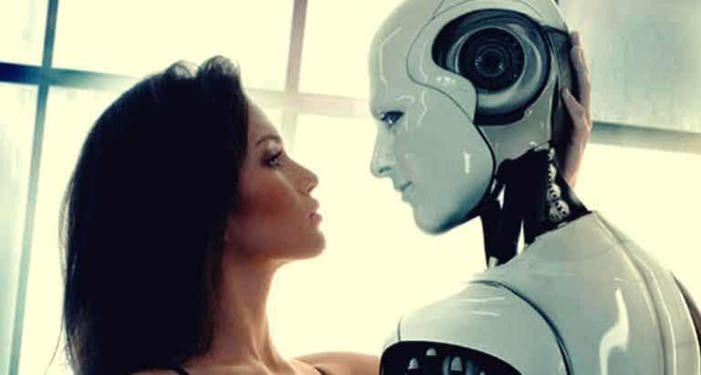 Une personne et un robot: les nouveaux amants du futur