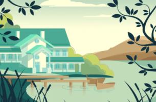 maison sur un lac