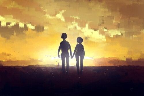 couple qui se tient la main représentant l'amour complet