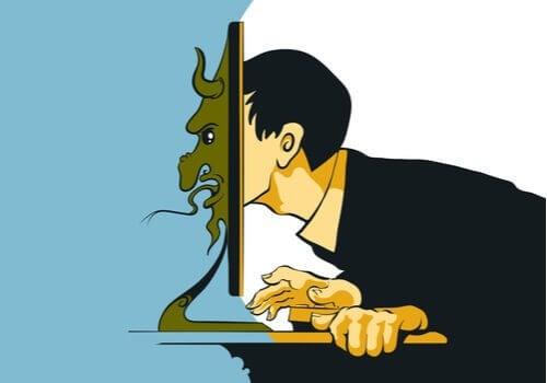 visage du troll sur les réseaux sociaux