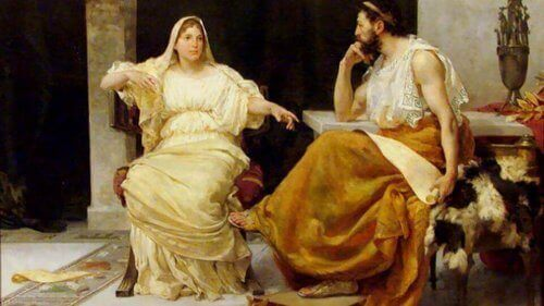 Aspasie de Milet avec un philosophe