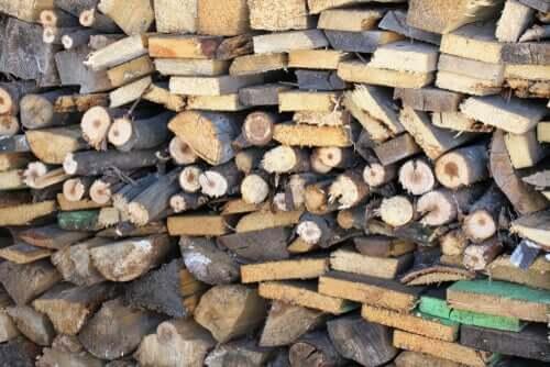 Une pile de bûches de bois