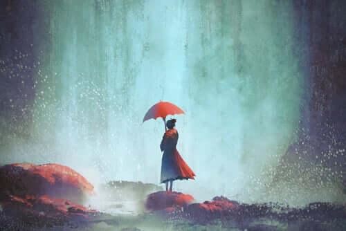 Dessin d'une femme avec un parapluie