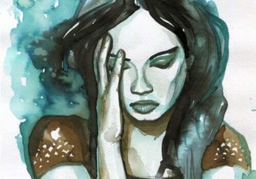 Dessin représentant une femme pensive