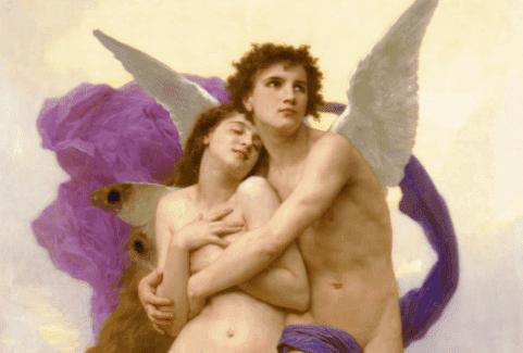 Une peinture du mythe d'Eros et Psyché