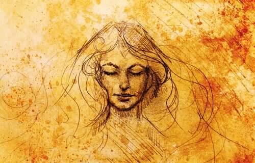 Un dessin de visage de femme aux yeux fermés