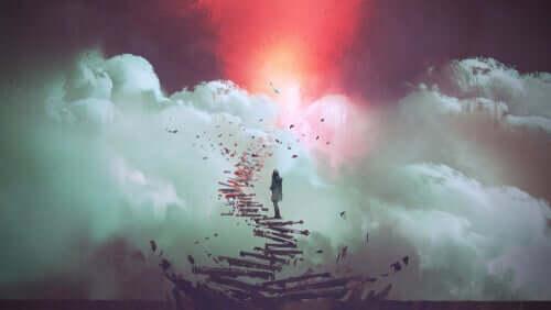 Une femme montant des escaliers fantastiques