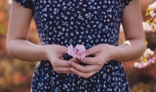 """Des mains qui tiennent une fleur, ce qui veut dire """"pardonne-moi"""""""