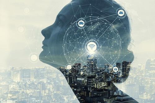 L'intelligence artificielle matérialisée sur le visage d'une femme