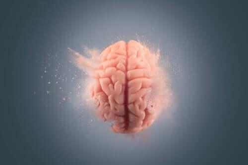 Un cerveau se désintégrant représentant symboliquement le fait d'oublier