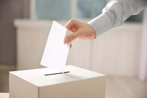 Une personne votant