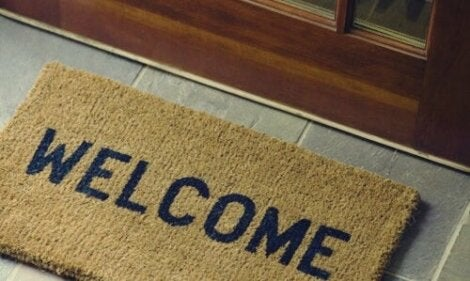 "Un paillasson ""Welcome"""