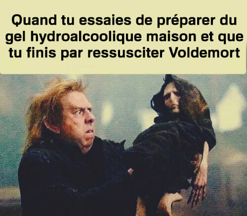 Un exemple de mèmes sur le coronavirus inspiré d'Harry Potter