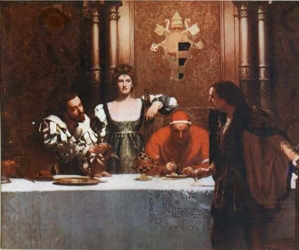 Le tableau intitulé César Borgia peint par John Collier.