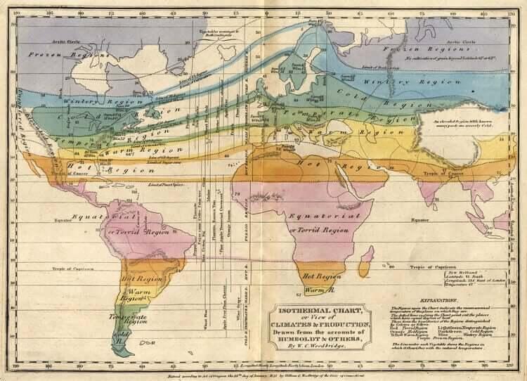 Une ancienne carte du monde du temps d'Humboldt