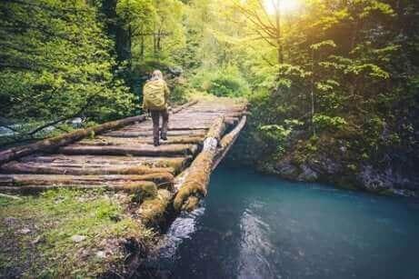 La sérénité d'un voyageur qui traverse un pont.