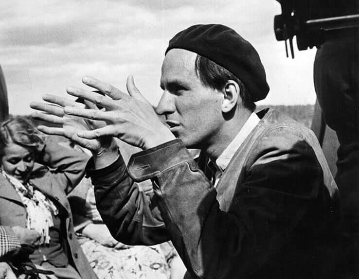 Ingmar Bergman en plein tournage.