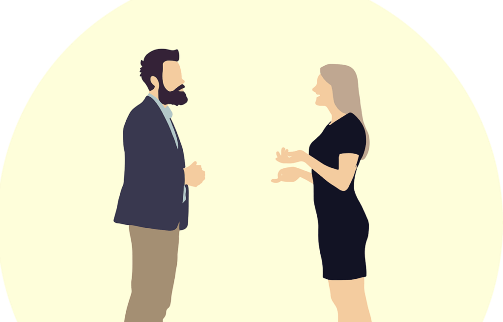 Un couple qui discute.