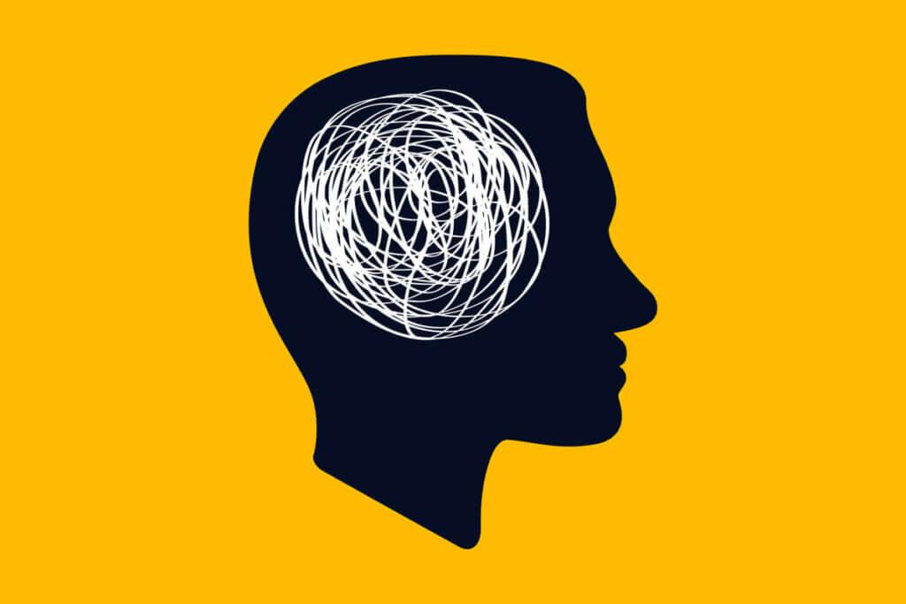Une illustration représentant les pensées dans le cerveau.
