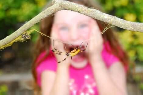 Une enfant qui a peur des araignées.